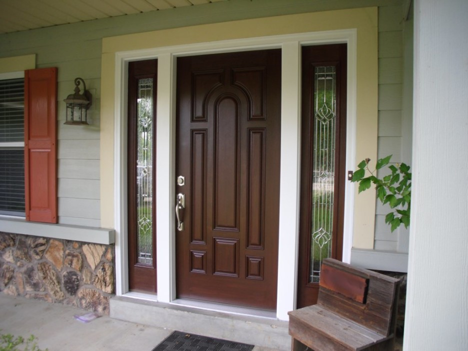 Awesome Front Door Design Design With Dark Brown Wood Single Bed Plus Glass
