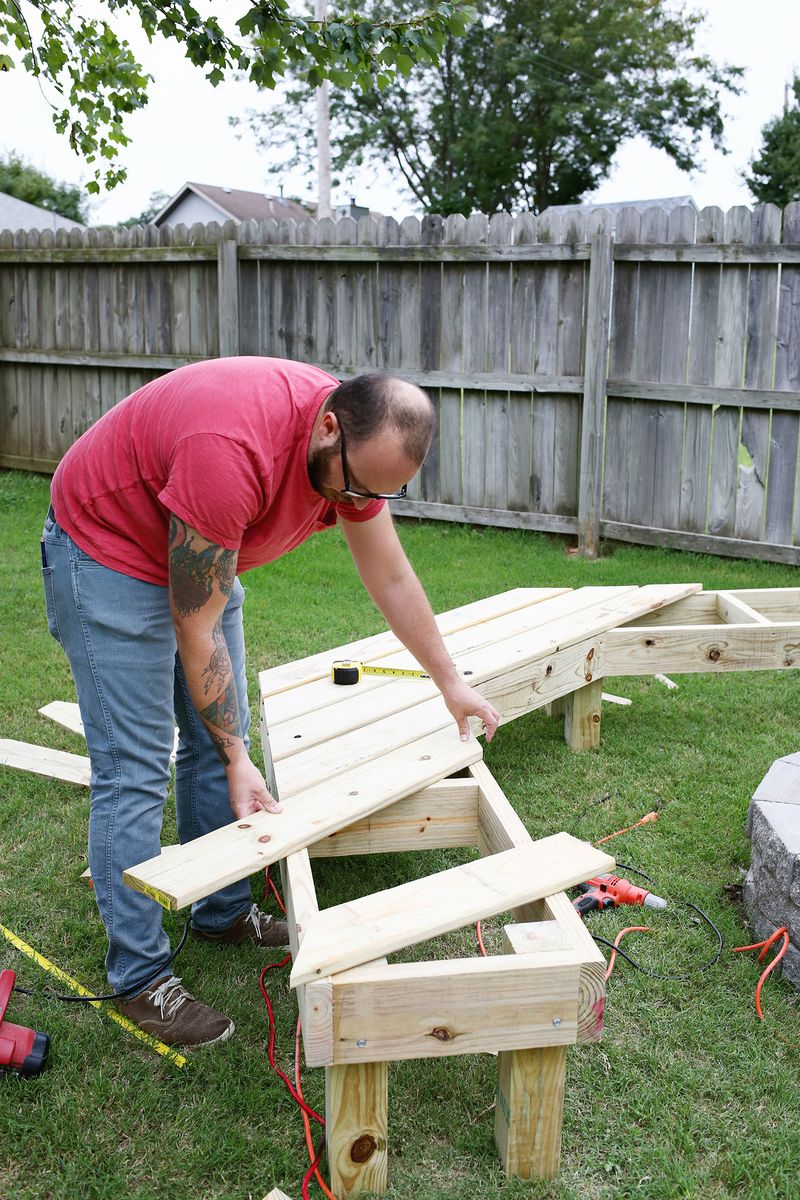 Diy Curved Fire Pit Bench bolted