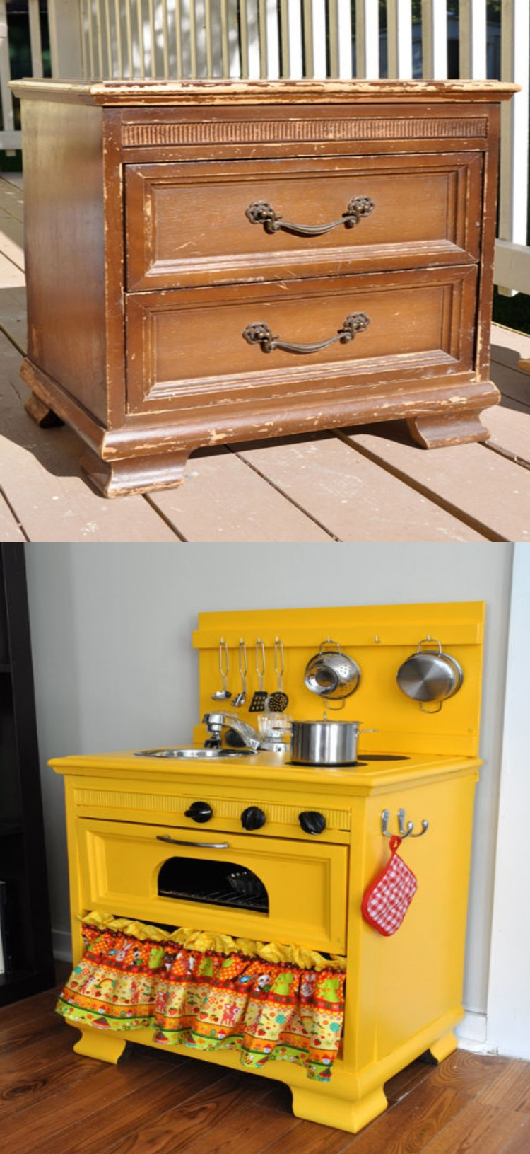 diy play kitchen for kid from old nightstand