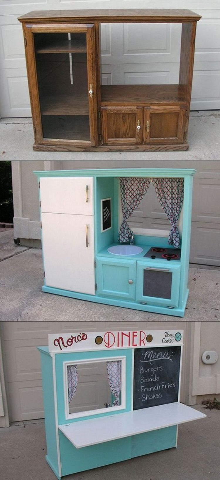 Diy Kid's Kitchen From Old Cabinet