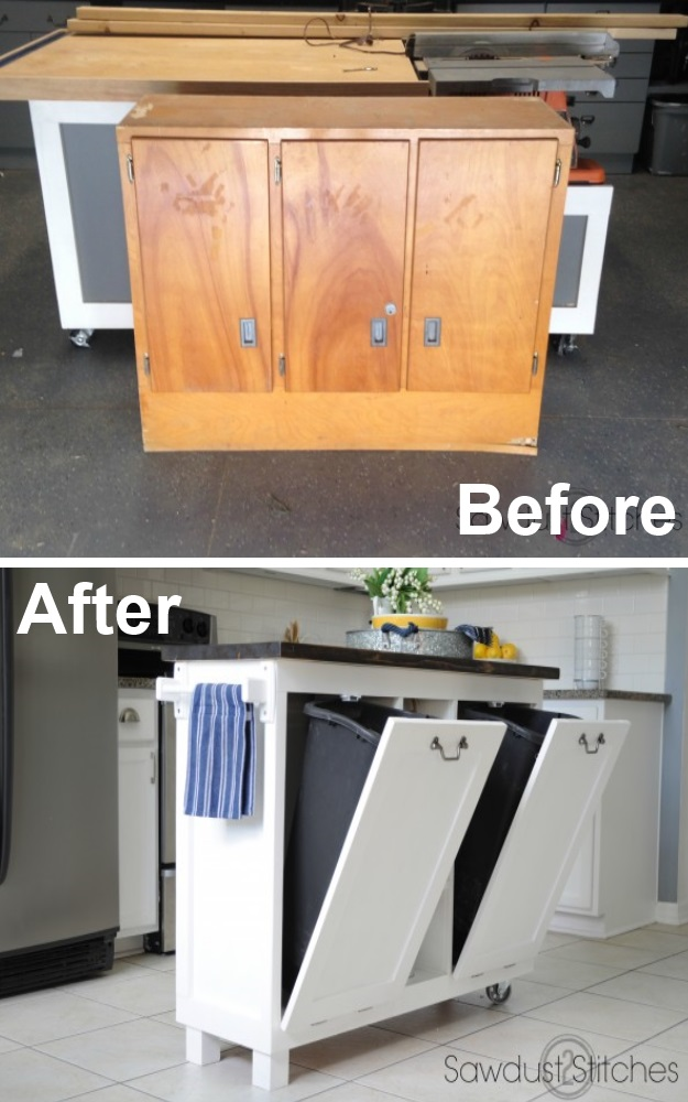 Diy Recycled Cabinet to Freestanding Kitchen Island With Wheel