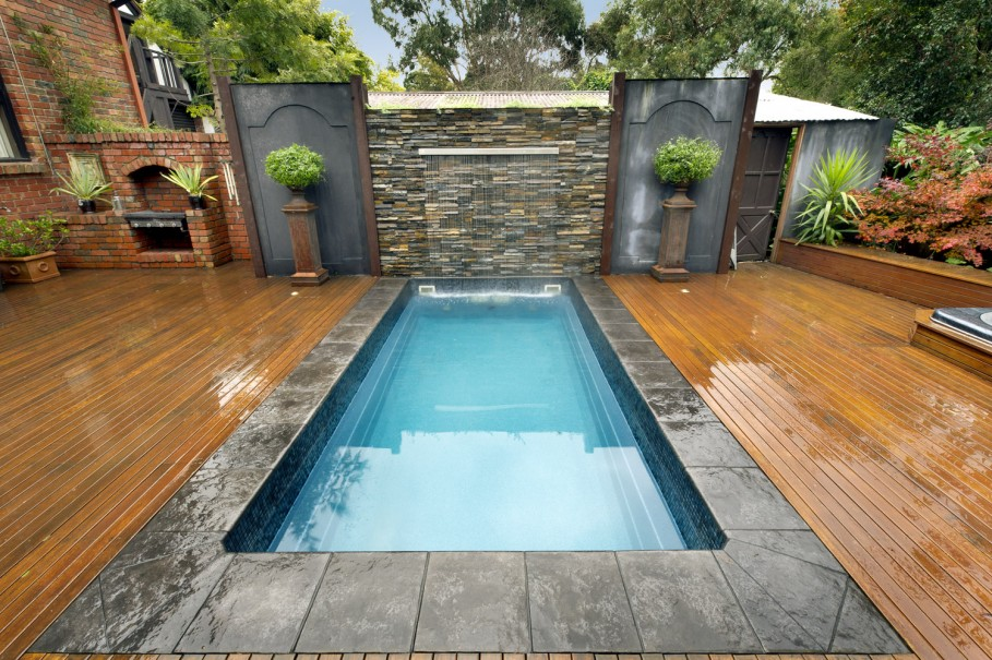 Small Inground Swimming Pools In Backyard With Special Build Wood Floor Around It