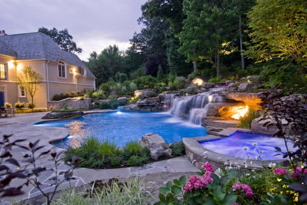 This Is Not A Small Swimming Pool But I Like The Ideas Of Waterall And The Lighting