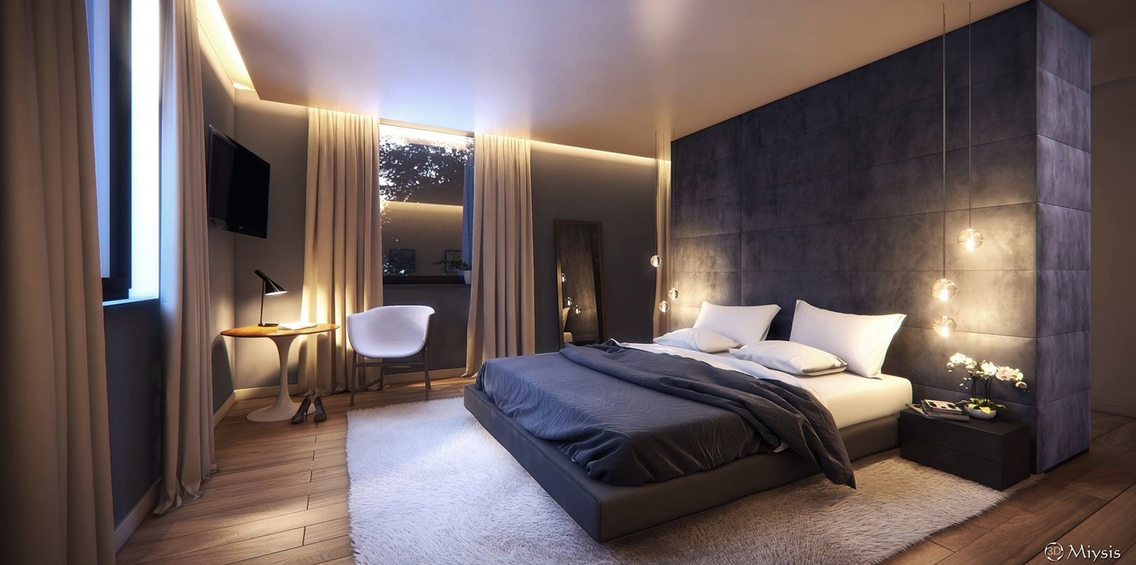 Modern bedroom design with stunning ceiling lighting fixtures with black bed an headboard wall has all around padding