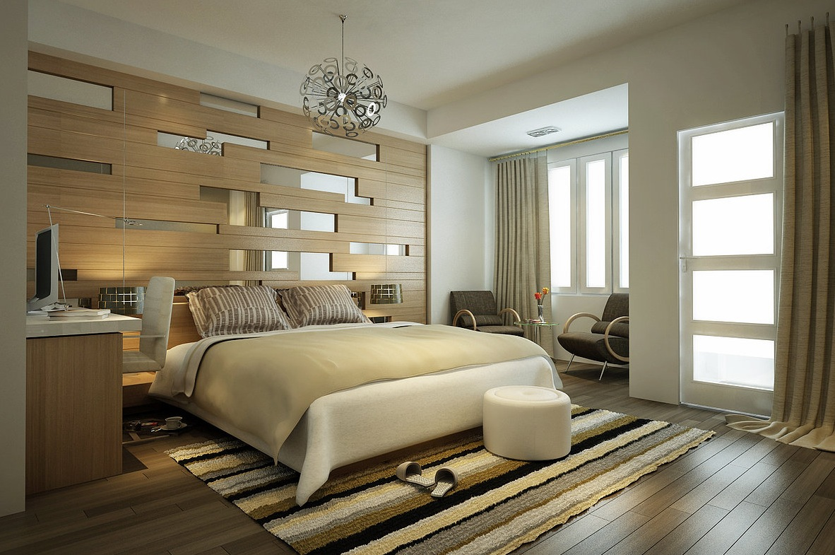 Modern bedroom design with wooden theme
