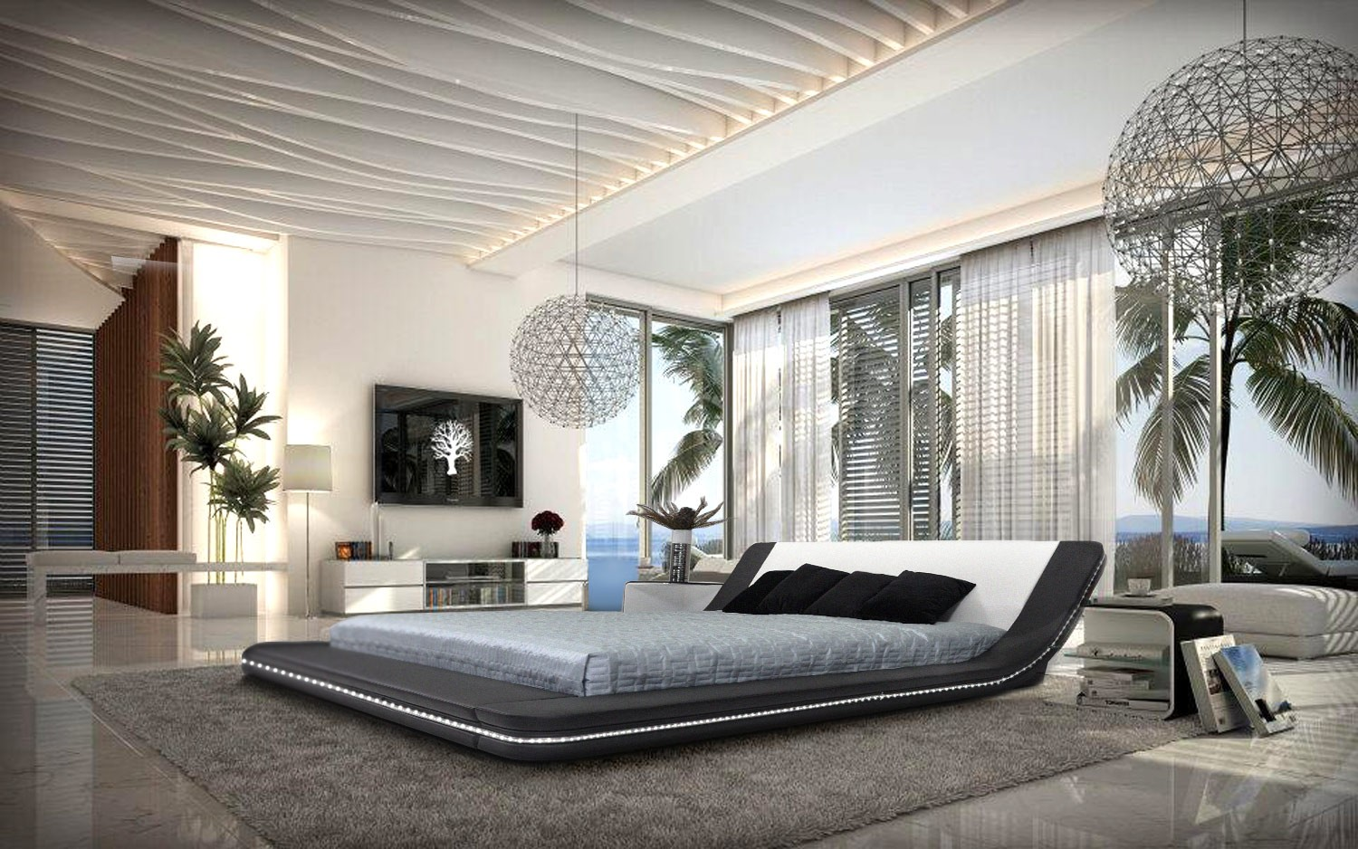 Modern contemporary bedroom design with marquee leather platform bed contemporary led light