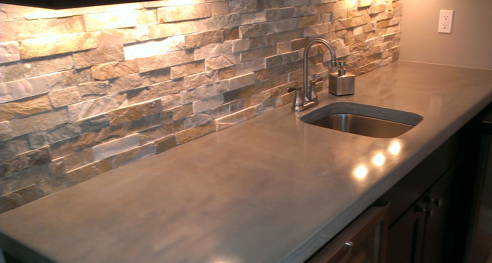 stained concrete kitchen countertops with backsplash