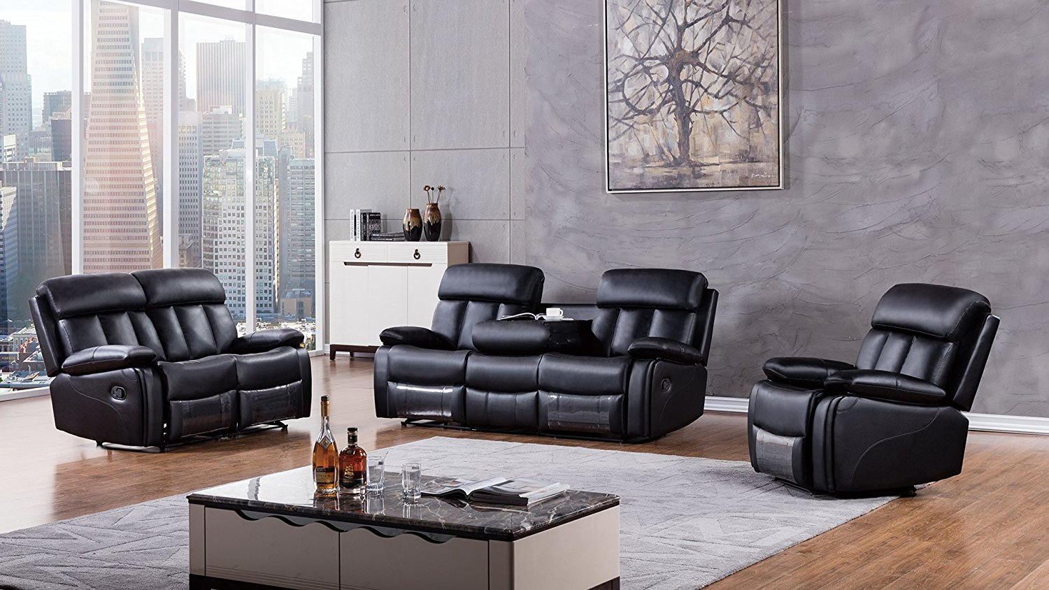 Furniture 3 Piece Dunbar Collection Complete Faux Leather Reclining Living Room Sofa Set, Black
