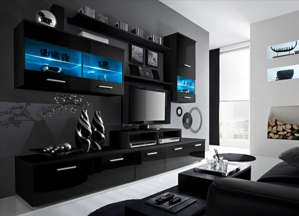 Paris Contemporary Design 74.8x98.4x17.7-Inch Wall Unit with LED, Black