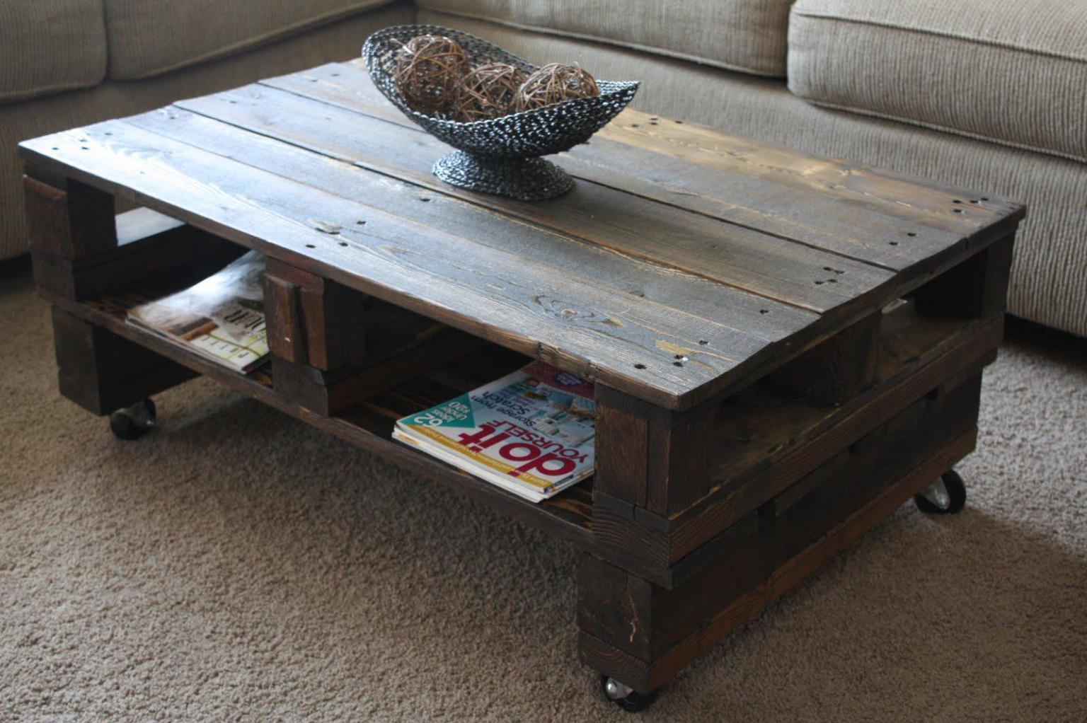 Beautiful diy pallet coffee table on wheels with storage