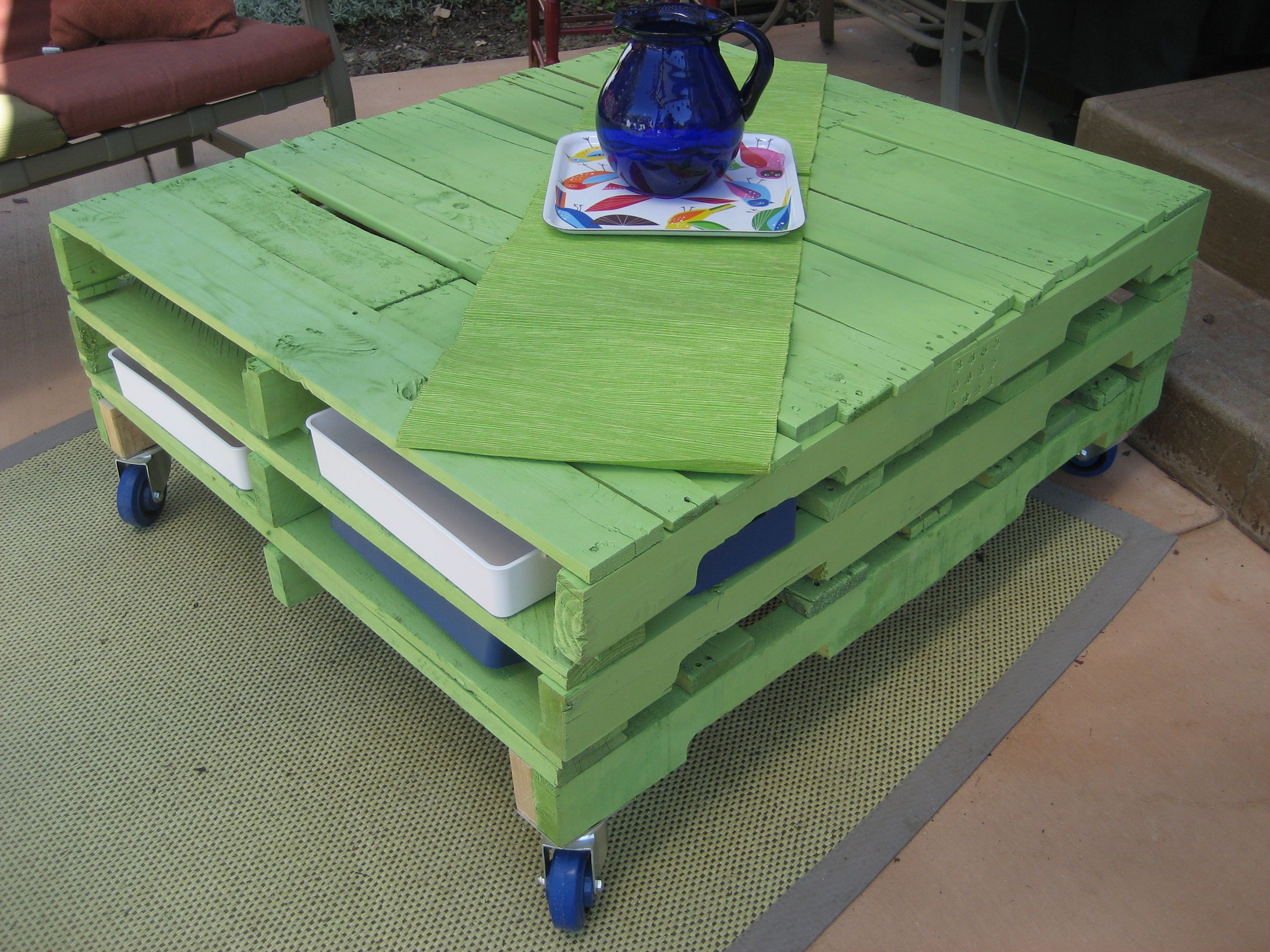 Green painted pallet coffee table