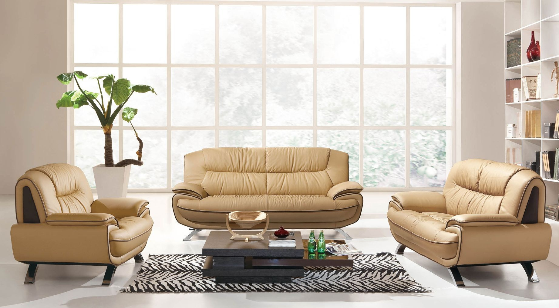 Astonishing Design Of The Brown Leather Modern Sofa Sets With Grey Rugs And White Floor Ideas