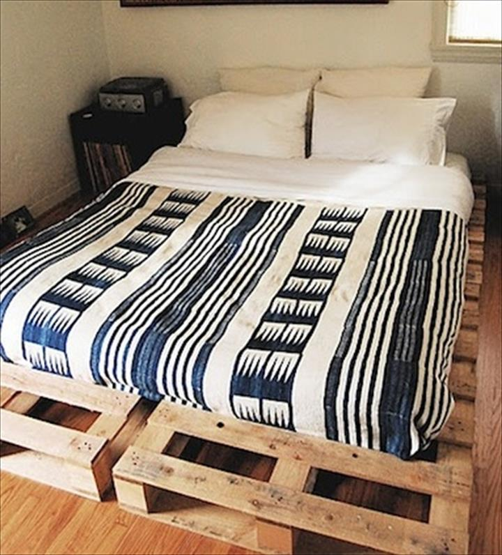 Bed frame wood pallet queen size ideas