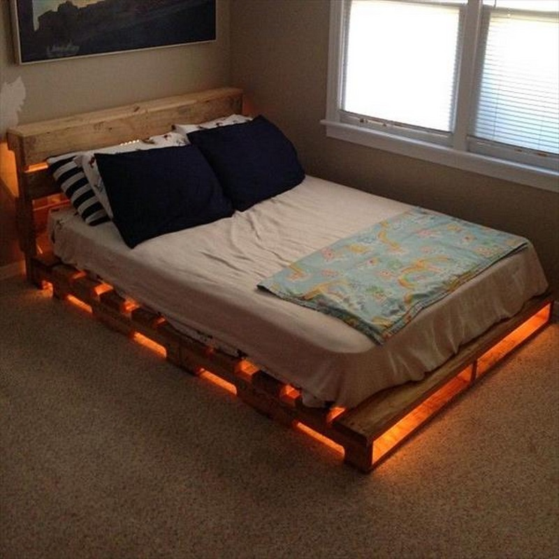 Diy Full Size Bed Frame With Storage With Light Underneath