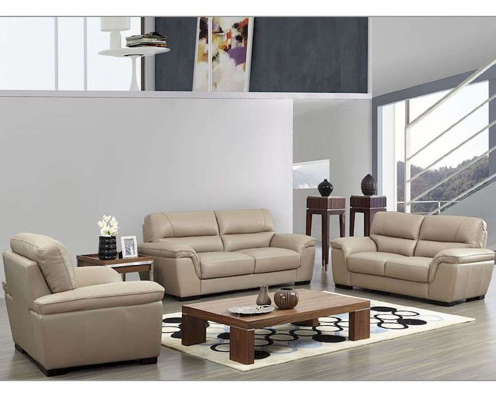 Enjoyable Ideas Contemporary Leather Sofa Sets Leather Sofa Set In Beige Color
