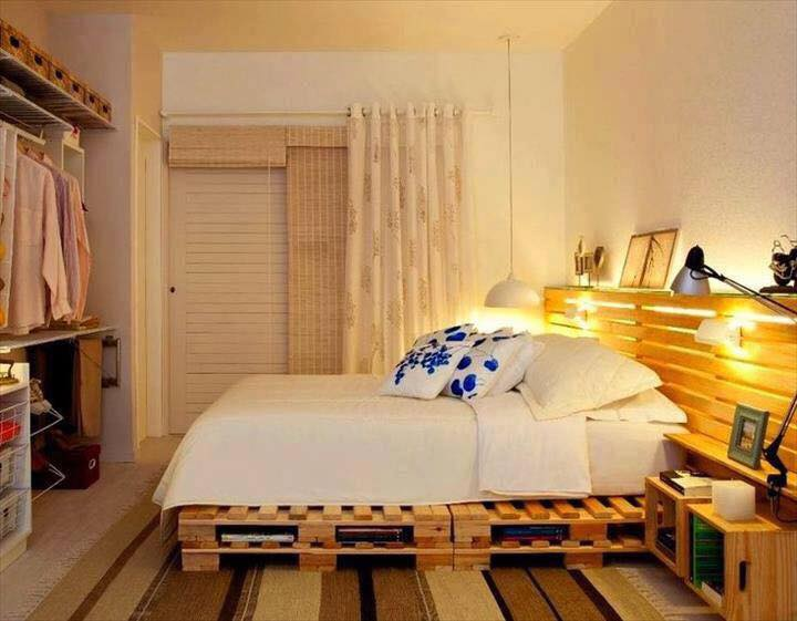 Full Size Pallet Bed Ideas With Headboard And Cool Lighting With Storage