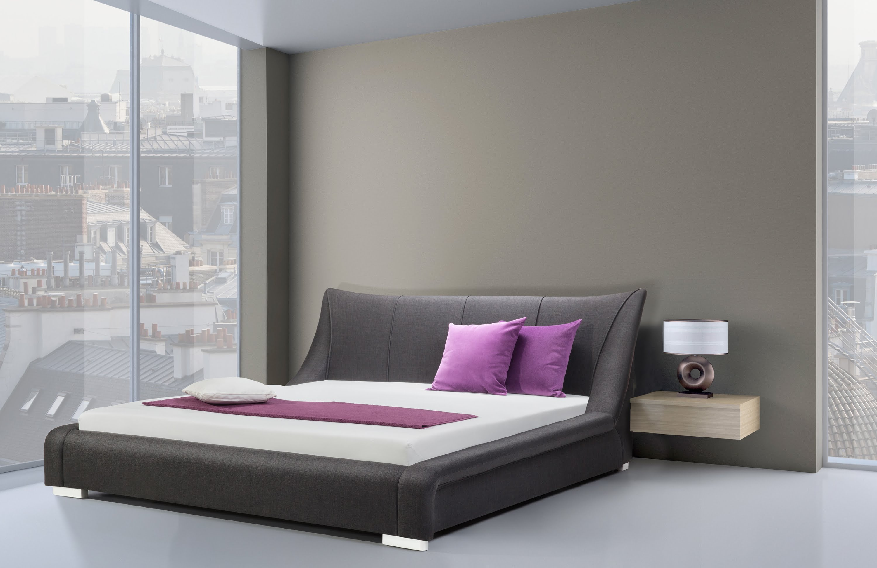 Modern King Size Bed Frame With Upholstered Headboard