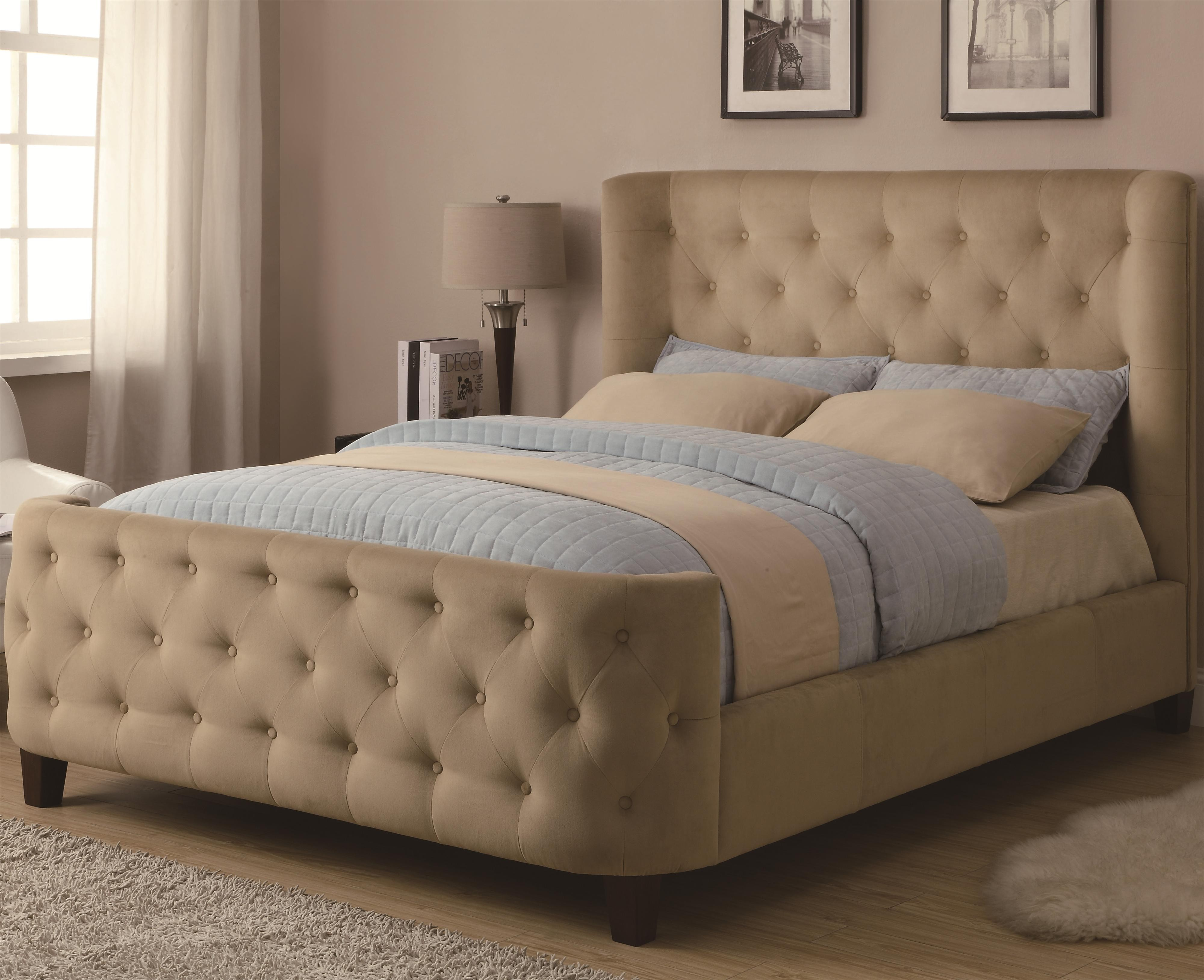 Modern king size bed frame and headboard idea with pastel color