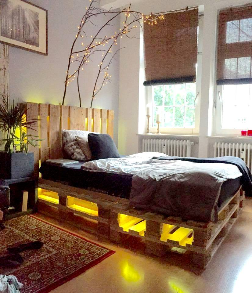 Most brilliant pallet bed frame with lights underneath