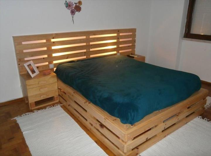 Pallet bed frame and headboard diy