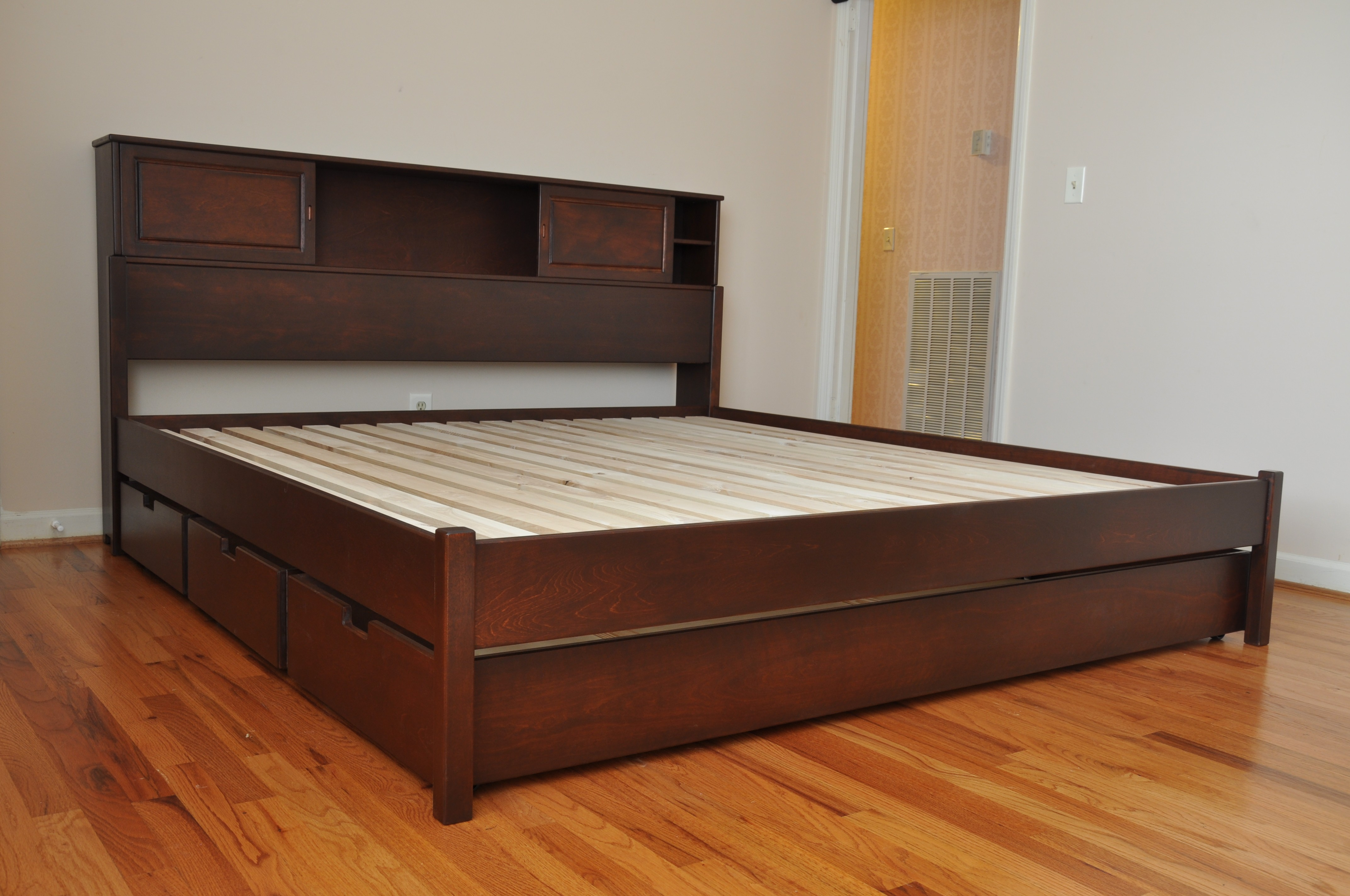 Prepac King Size Platform Bed With Storage Drawers In Cherry Finish