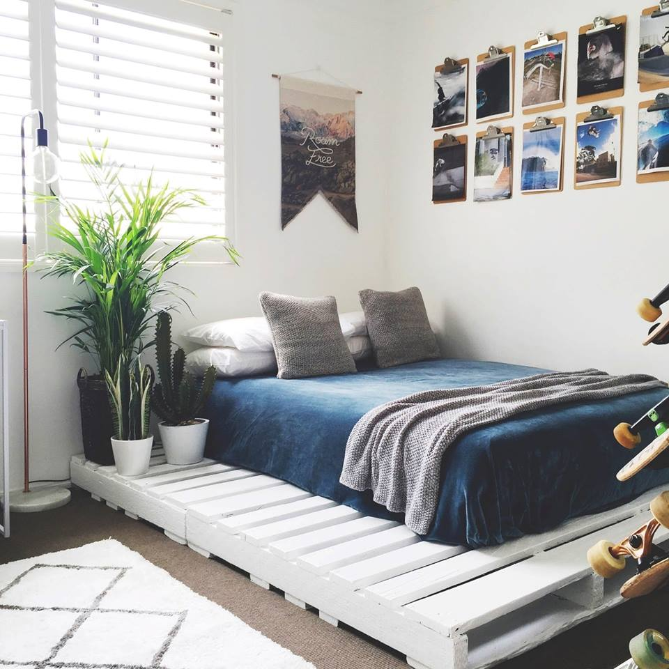 Simple Bed Frame Project With Modern White Finishing