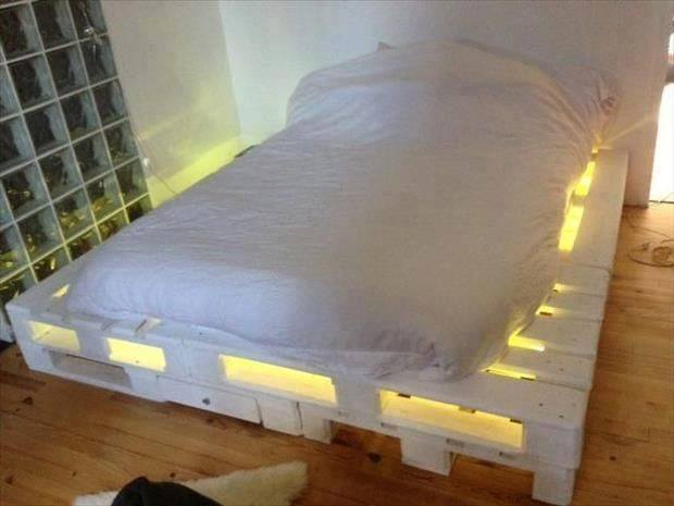 White Bed Frame Made Out Of Pallets