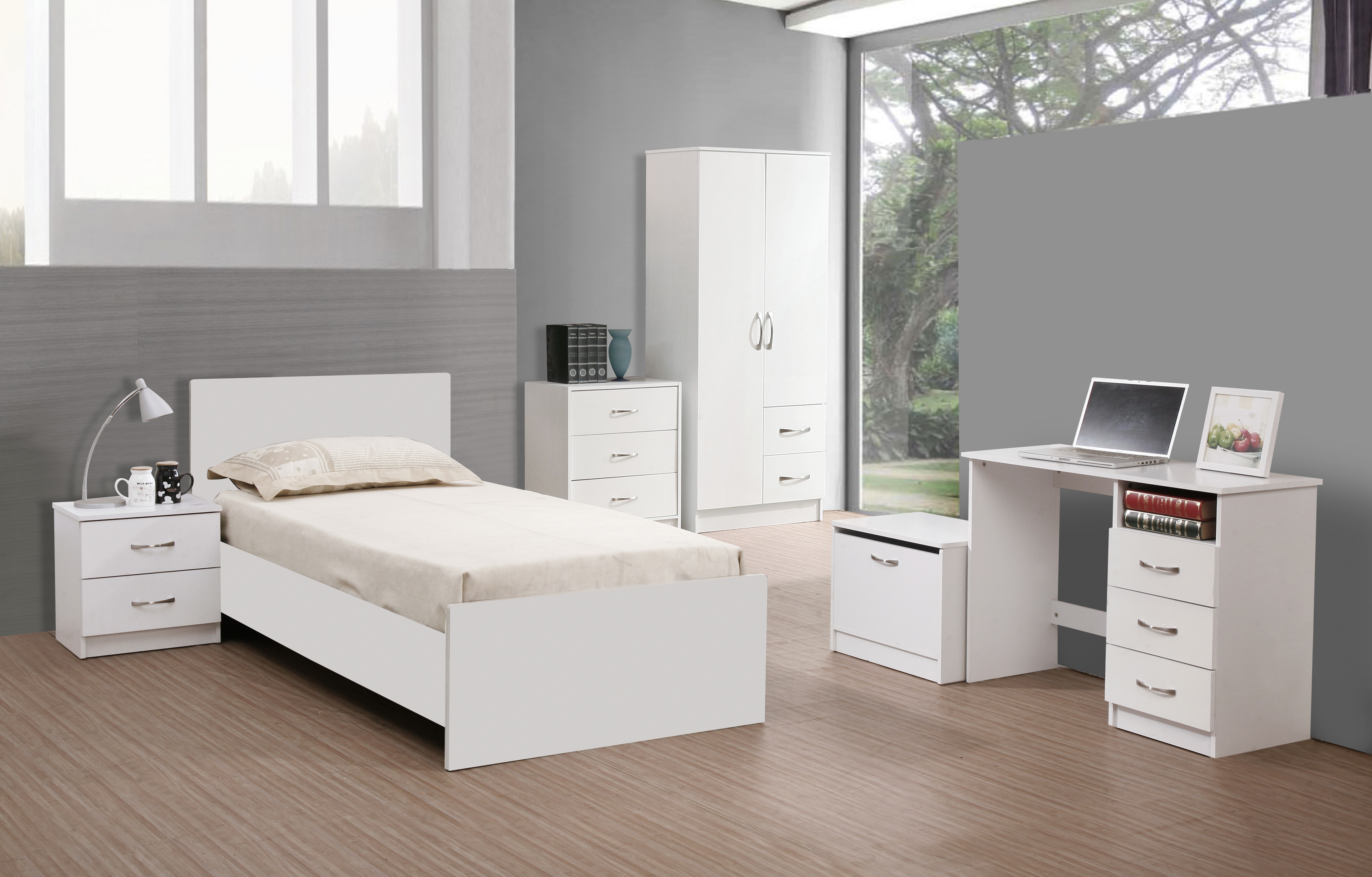 White Cottage Bedroom Furniture Set Design In Inspiration Likable Decorating Ideas Minimalist With Solid Wood Single Bed And Wooden Computer Desk HGNV.COM