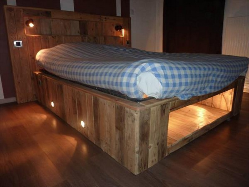 Wood Pallet Bed Frame With Storage Diy And Light