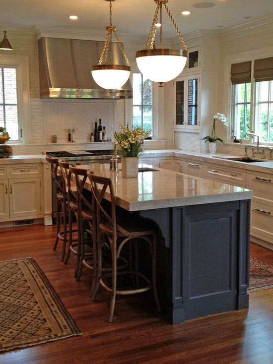Awesome kitchen interior decoration with kitchen carts on wheels and islands
