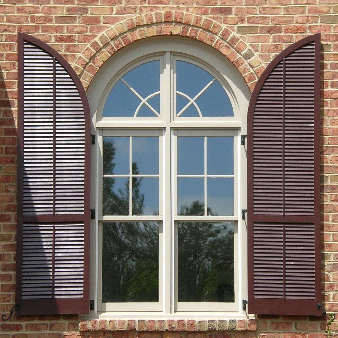 Cool exterior window shutter styles for arched windows