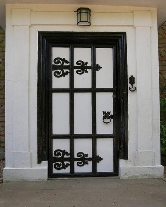 Front door replacement ideas with black and white finishing entry door