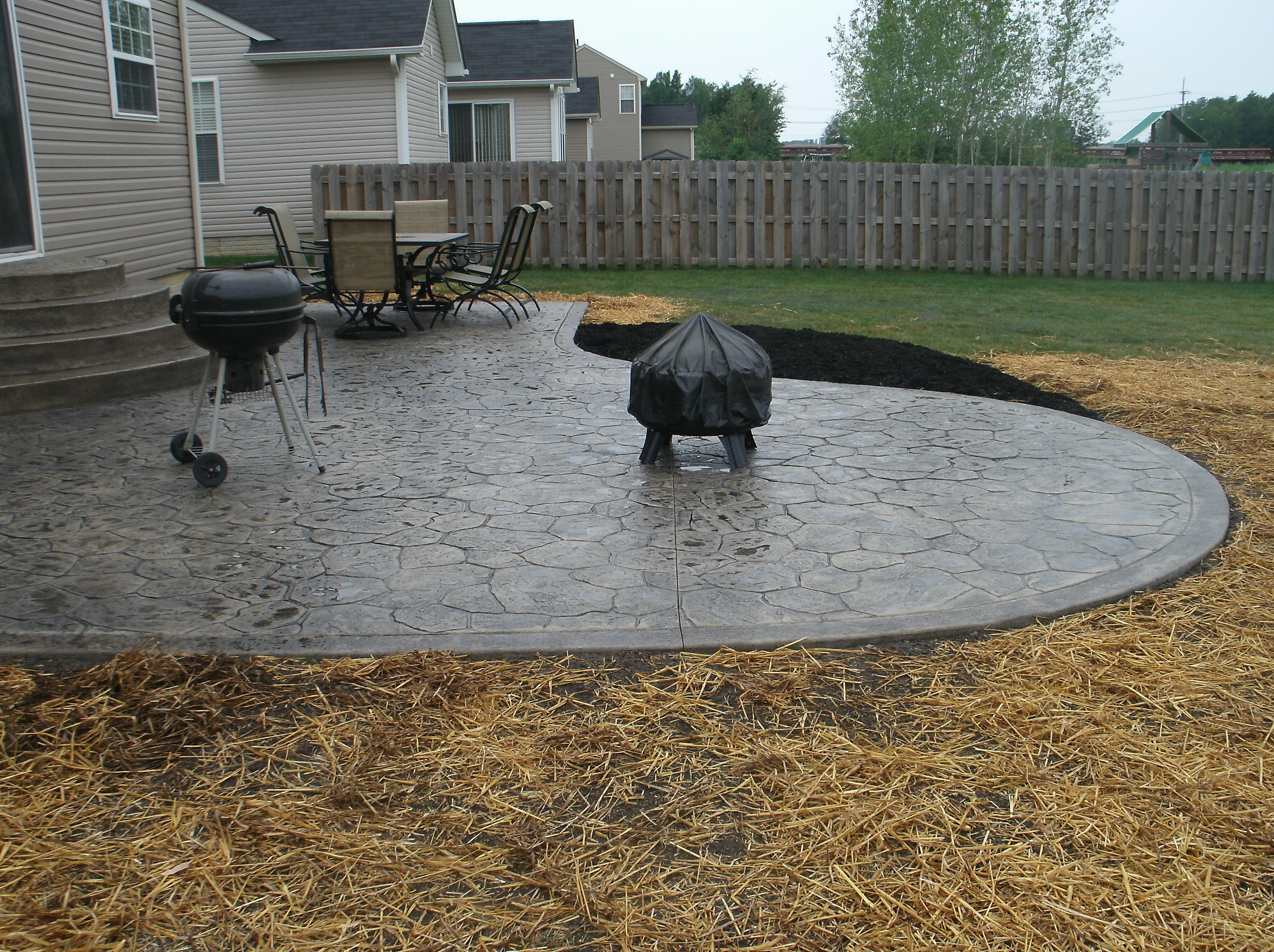 Grey stamped concrete ideas for farm house