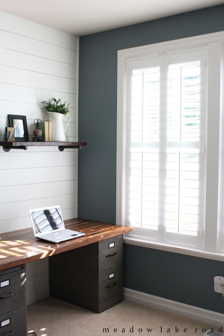 Home office interior decoration with white window shutter