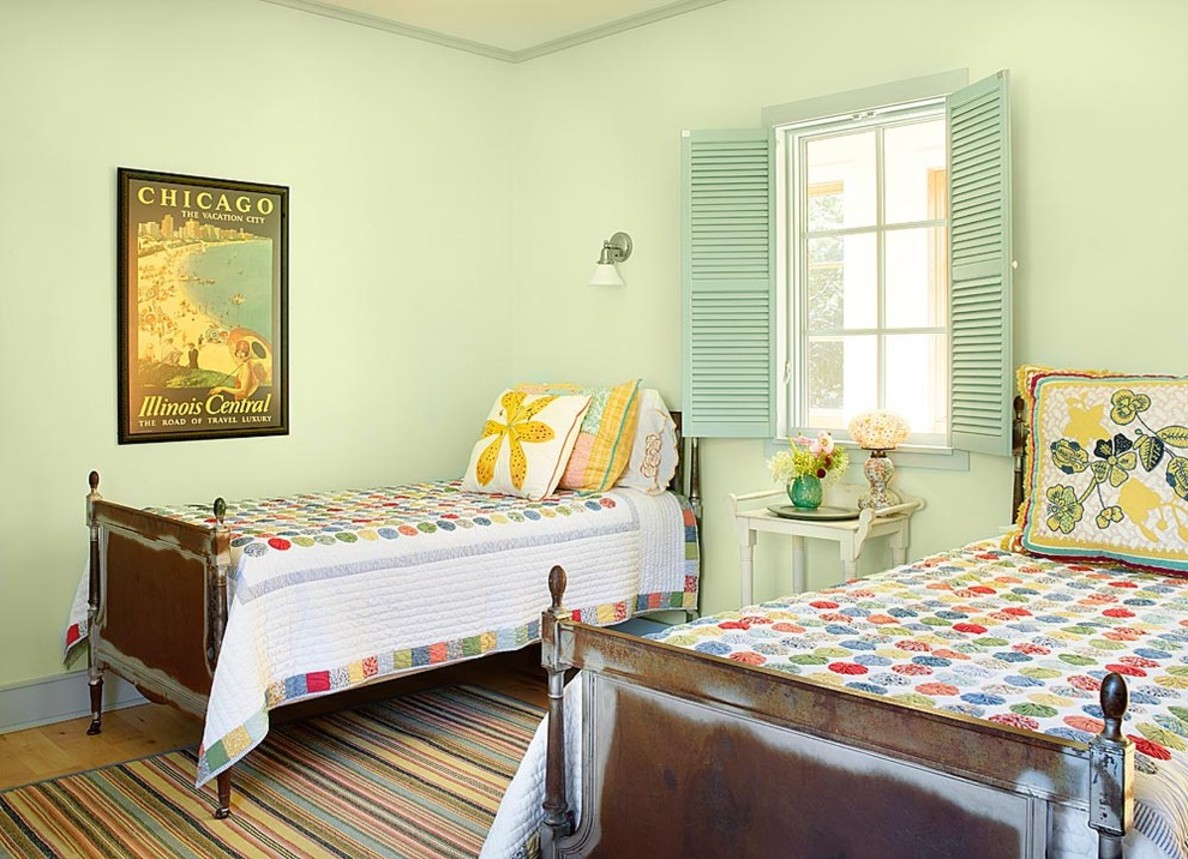 Interior design for twin bedroom with eye catching window shutters