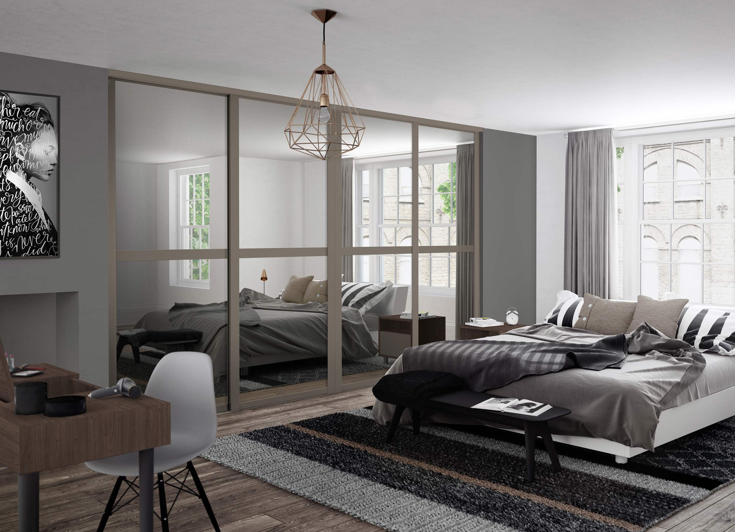 Mirrored fitted wardrobes uk style