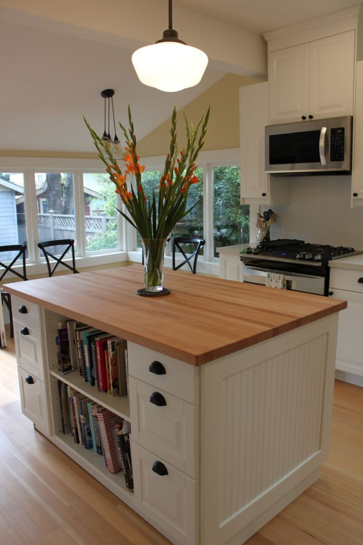 Modern kitchen island ideas in white and wooden style countertop