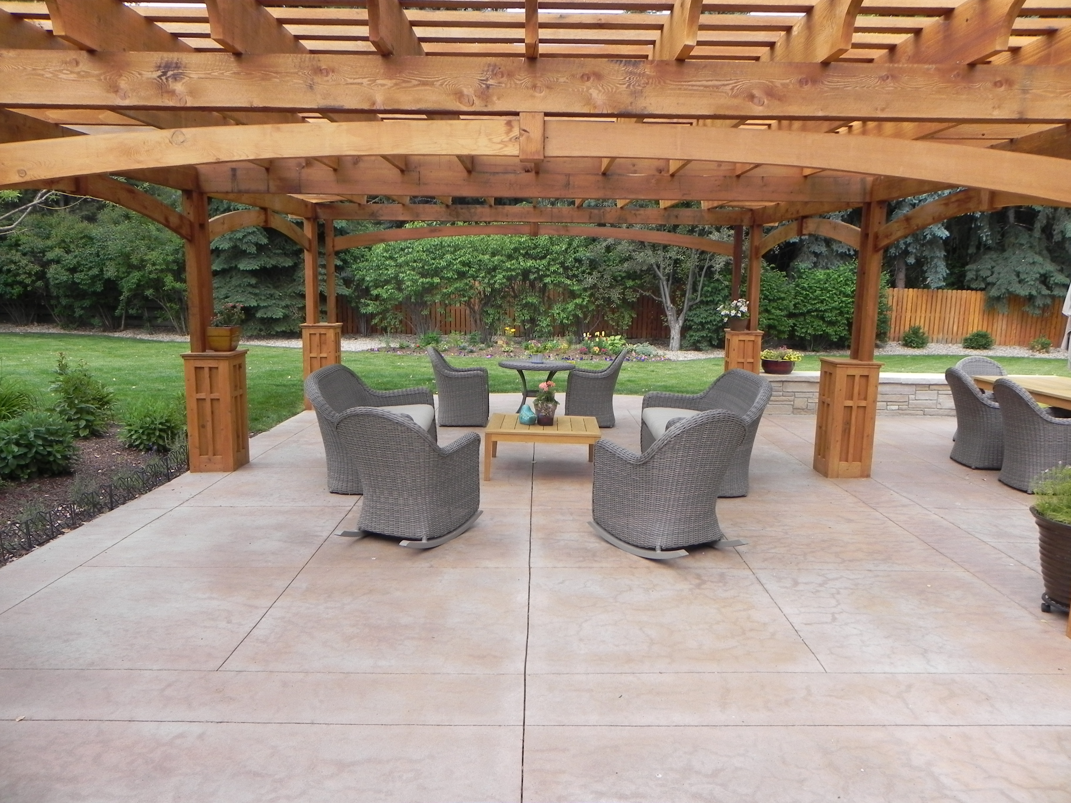 Stamped concrete patio ideas with pergola for outdoor best moment