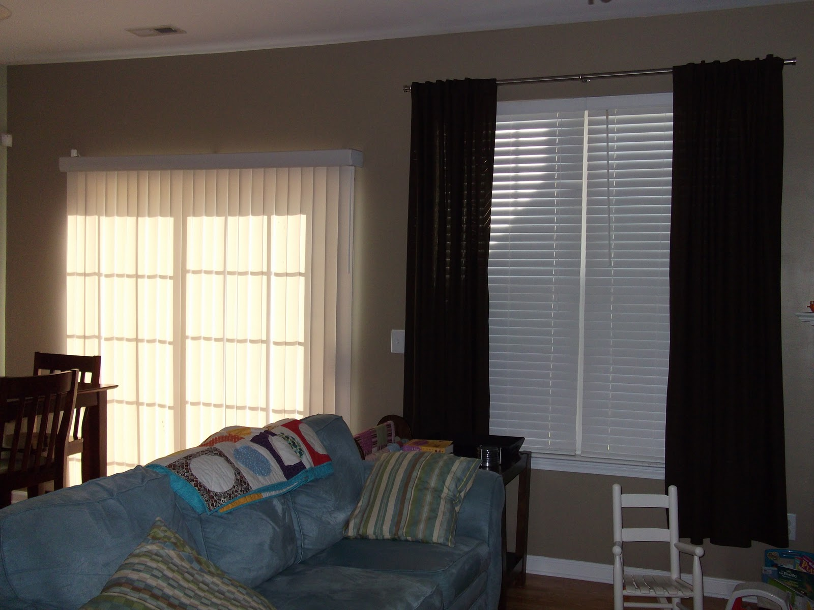 Vertical blinds with fabric for sliding glass doors