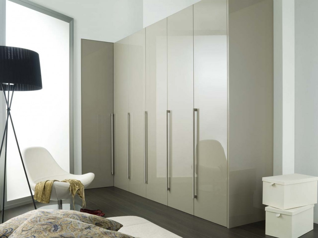 White and brown fitted bedroom furniture high gloss wardrobe doors