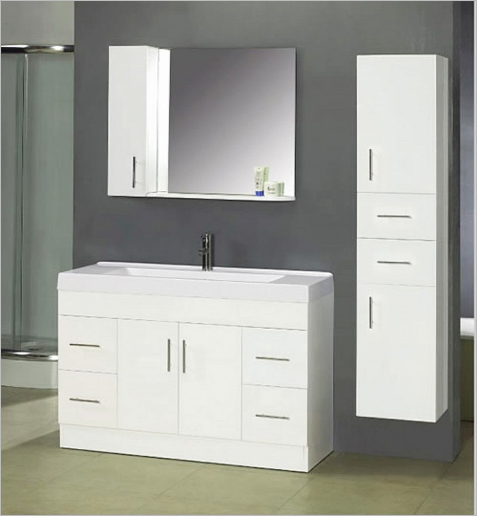 Contemporary White Bathroom Vanity And Cabinet