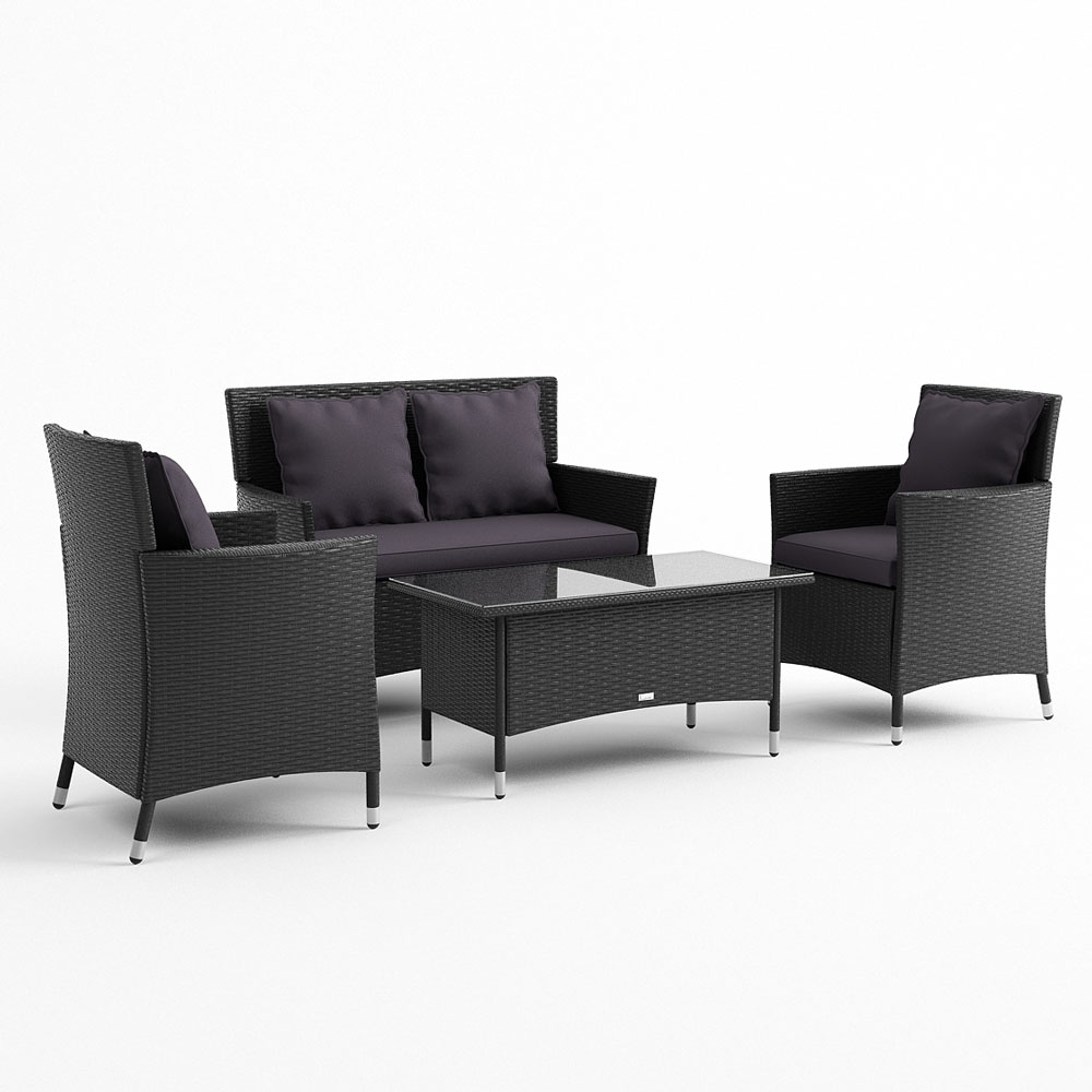 Cool black all weather wicker outdoor furniture with white cushion and round table