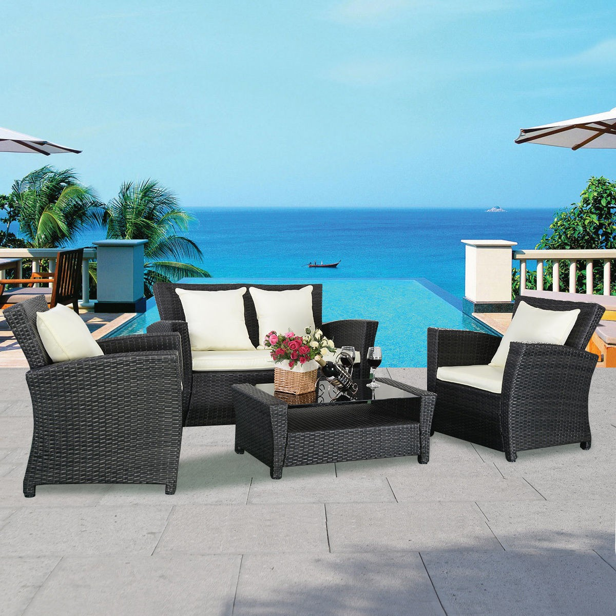 Modern all weather wicker furniture set for outdoor patio