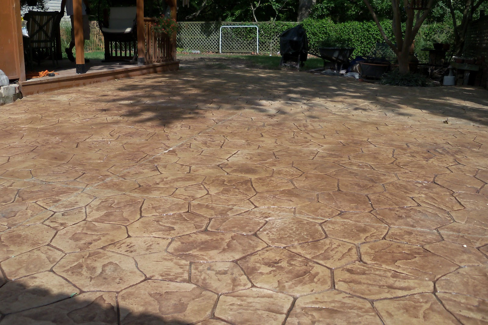 Backyard patio ideas with cool stamped concrete patio designs flooring options for backyard floor design