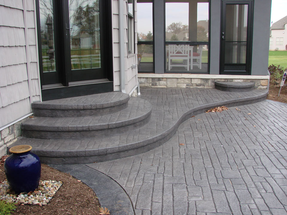 stamped concrete sealer with homecrest patio furniture for backyard landscaping ideas best houston stamped concrete backyard patio