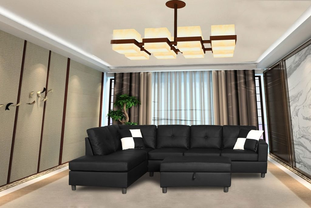 Legend Faux Leather Right-Facing Sectional Sofa Set With Free Storage Ottoman, Black, 3 Piece